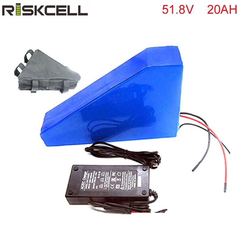 Dreieck stil 1500 watt 51,8 v 20AH Elektrische Fahrrad Batterie 51,8 v Lithium-Batterie 52 v 20AH E-bike batterie 30A BMS ladegerät freies tasche