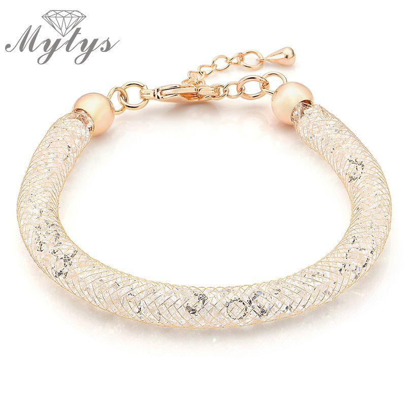 Mytys Or Rose Chaîne De Treillis Métallique Mousseux Bracelet En Acier Inoxydable Tube Rempli Crystal Mesh Bracelet Femmes bijoux Cadeau B257