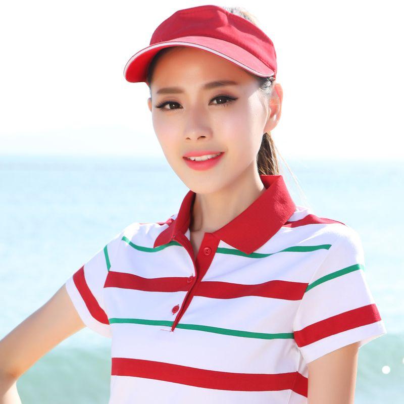 2017 New Summer Fashion Striped Cotton Short Sleeved Polos Womens Tops Plus Size Slim Female Women Polo Shirts 66816