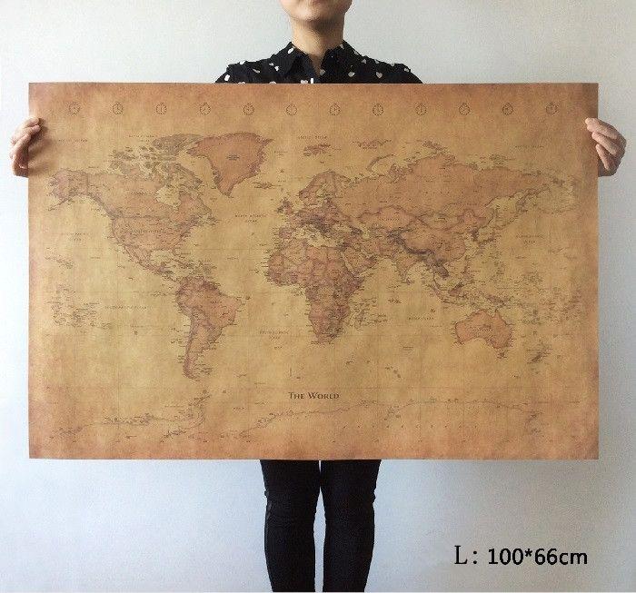 Wählen größe: Die alte Welt Karte riesige große Vintage Style Retro Papier Poster ausgangswand-dekoration