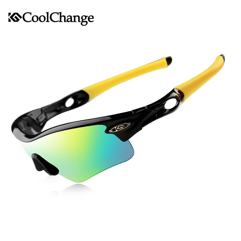 CoolChange Cycling Glasses Polarized Sunglasses Road Bike Outdoor Sports Goggles 5 Groups of Lenses Bicycle Eyewear Myopia <font><b>Frame</b></font>