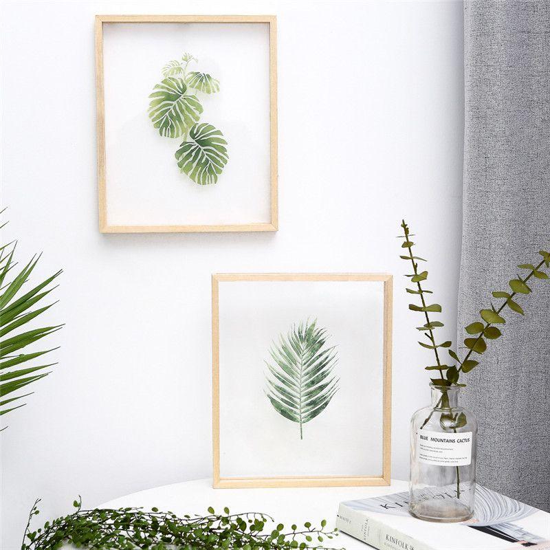 INS peinture acrylique transparente remplaçable avec cadre en bois peinture suspendue moderne créative pour salon ou chambre déco