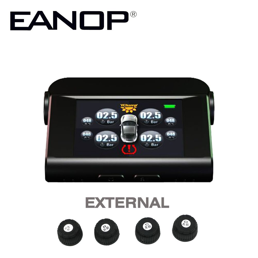 EANOP Car Electronics Solar TPMS With 4 Sensors PSI/BAR Tire Pressure Monitor Real time Temperature Monitoring Alarm System