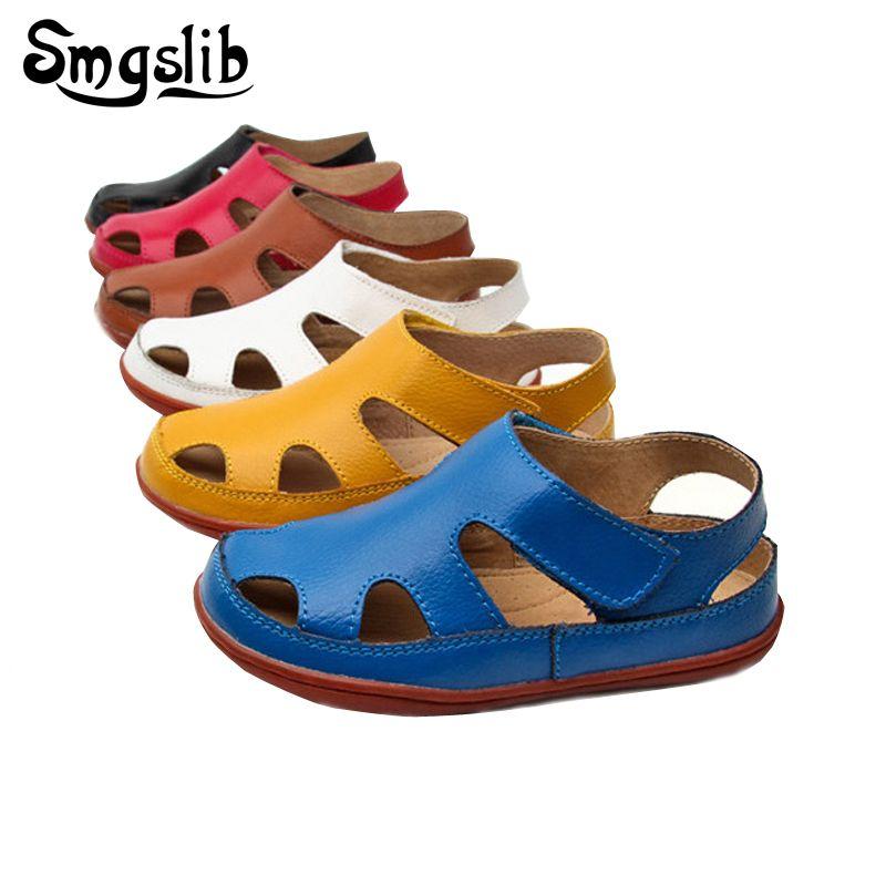 Size25-37 Véritable en cuir décontracté sandales enfants 2018 bébé d'été garçons chaussures de plage Plat petites filles sandales spartiates