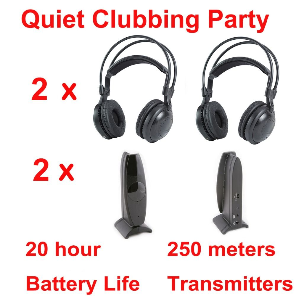 Professional Silent Disco compete system wireless headphones - Quiet Clubbing Party Bundle (2 Headphones + 2 Transmitters)
