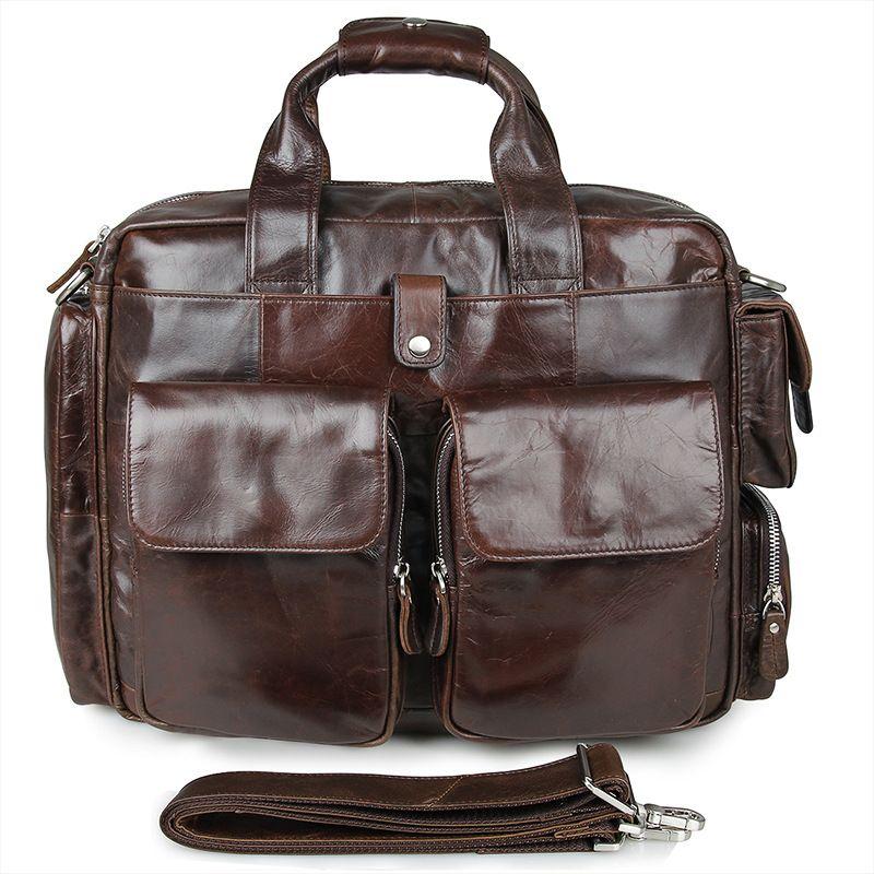 Most Popular Business Style Genuine Cow Leather Men's Handbag Briefcase Cowhide Men Messenger Bag Coffee Laptop Bag #VP-J7219