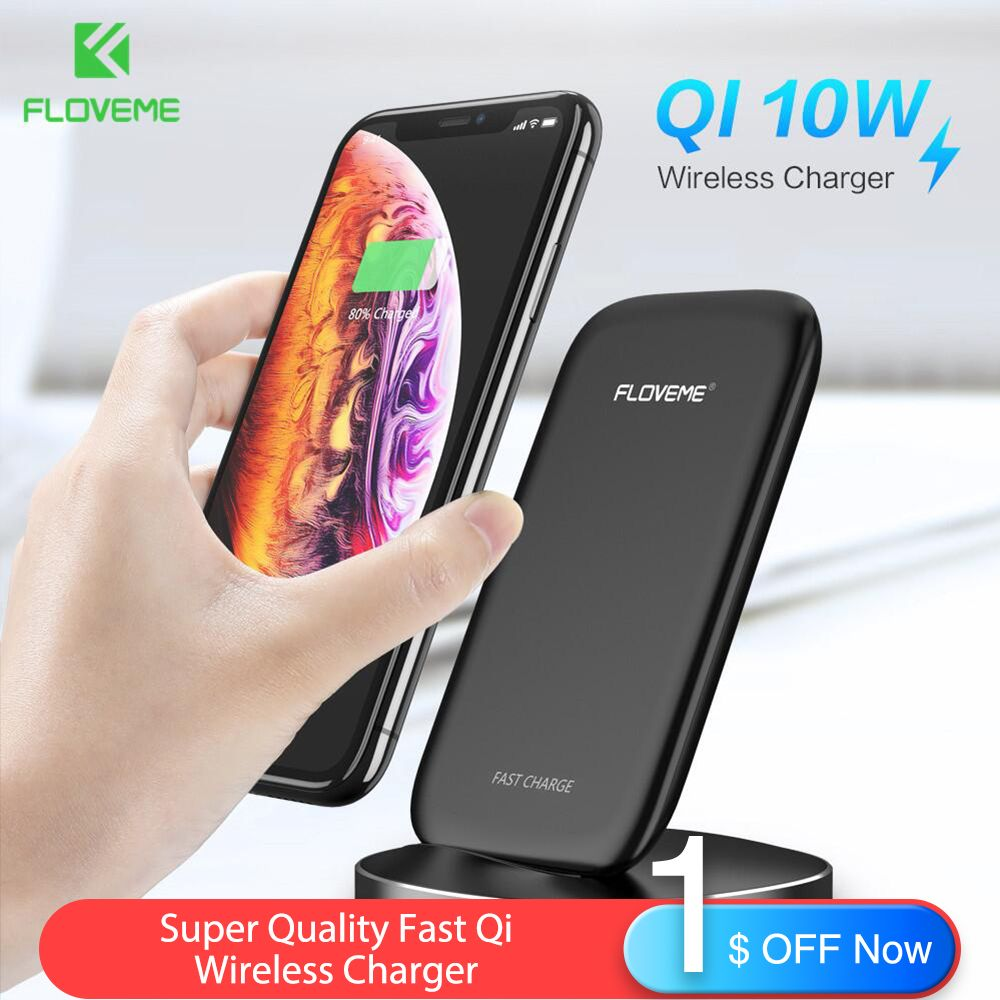 FLOVEME New 10W Wireless Charger For iPhone XS X XR 8 Plus Fast Qi Wireless Charger For Samsung Galaxy S10 Plus S10e S9 S8 Dock