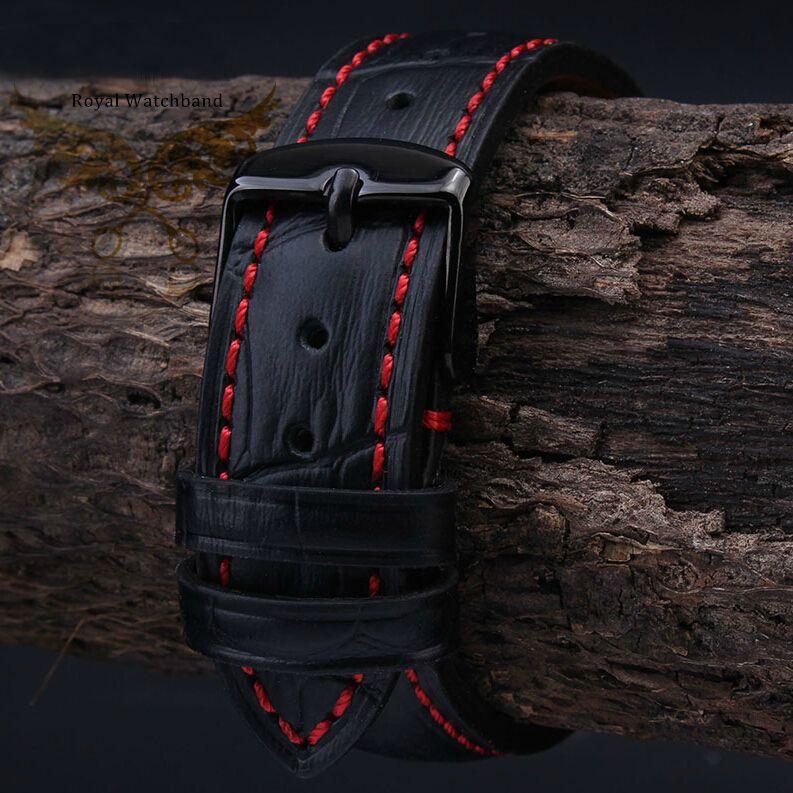 18mm 19mm 20mm 21mm 22mm 23mm 24mm nouveau hommes de haute qualité en cuir véritable noir Croco Grain point rouge bracelet de montre sangle