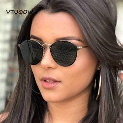 Moda rimless gafas de sol mujer marca diseñador retro aviador gafas de sol femeninas para las mujeres señora sunglass oculos