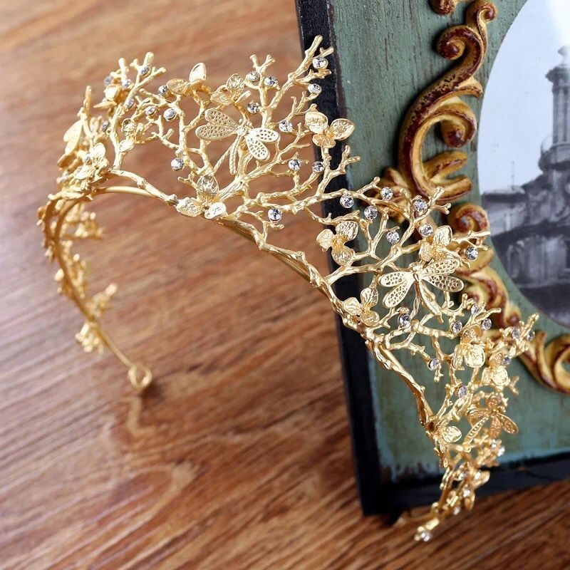 Vintage Gold Baroque Wedding Bridal Crown Hair Accessories Dragonfly Tiara Bridesmaid Girls Rhinestones Headdress Crown Headband