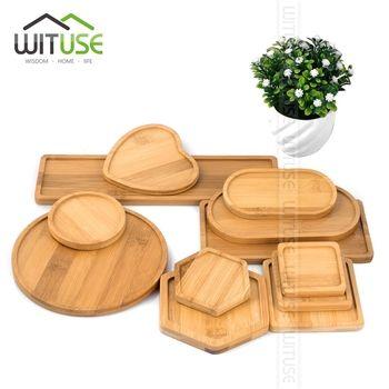Pour Succulentes Pots Plateaux Base Stander Jardin Décor Décoration de La Maison Artisanat 12 Types Vente Bambou Carré Rond Bols Plaques