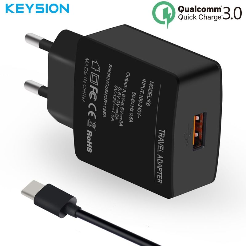 KEYSION USB Phone Charger Quick Charge US EU USB Charger QC 3.0 2.0 Fast Charger Travel for Samsung LG Xiaomi Lenovo Nokia HTC