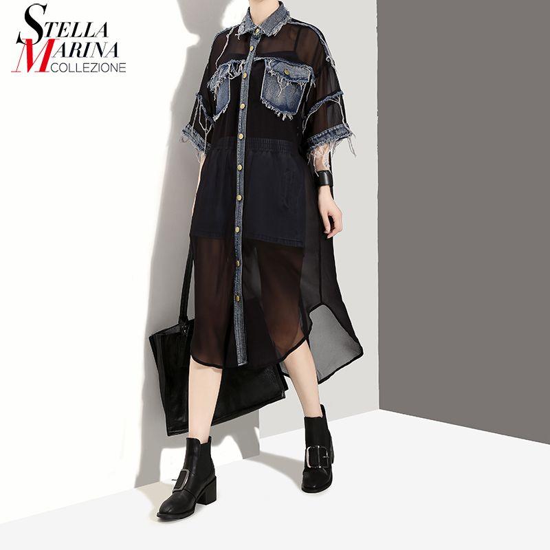 New 2018 Black White Summer Women Plus Size Chiffon Shirt Dress Half Sleeve Denim Pocket & Tassel Girls Casual Midi Dresses 2570