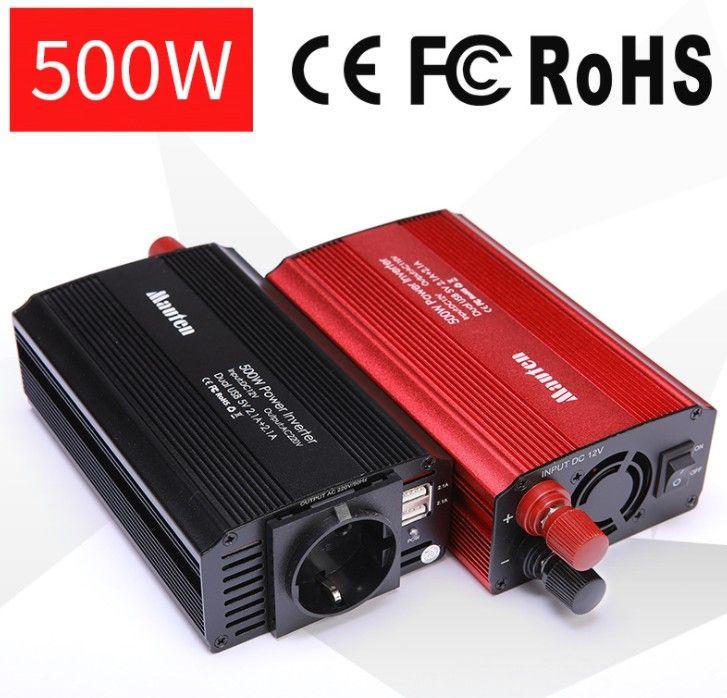 EU Inverter 2-USB Car Inverter 500w Anti-reverse Protection <font><b>Converter</b></font>