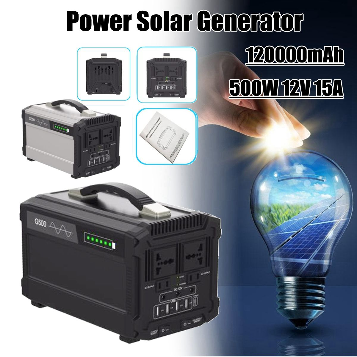 444Wh 120000mAh 500W 12V 15A Energy Storage Home Outdoor Portable Power Solar Generator Faster Charge