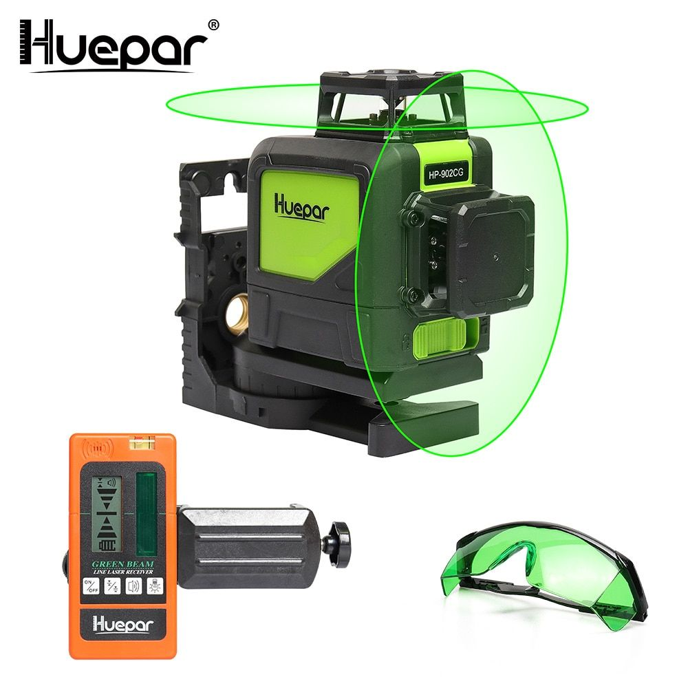 Huepar Self-leveling Professional Green Beam 360 Degree Cross Line Laser Level+Huepar Laser Receiver+Laser Enhancement Glasses