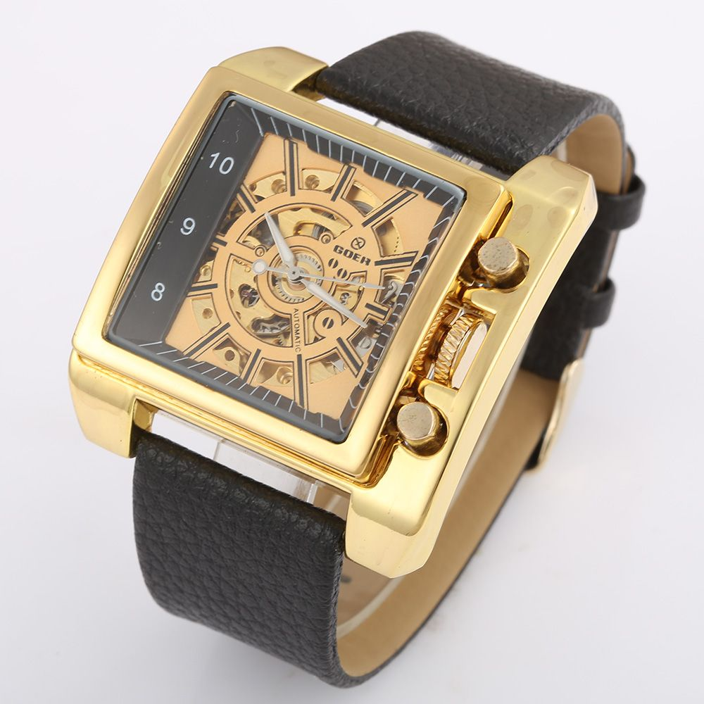 Relogio Masculino Top Brand GOER Watches Mens Gold Skeleton Mechanical Watches Men Luxury Watches Automatic Men Square Watches