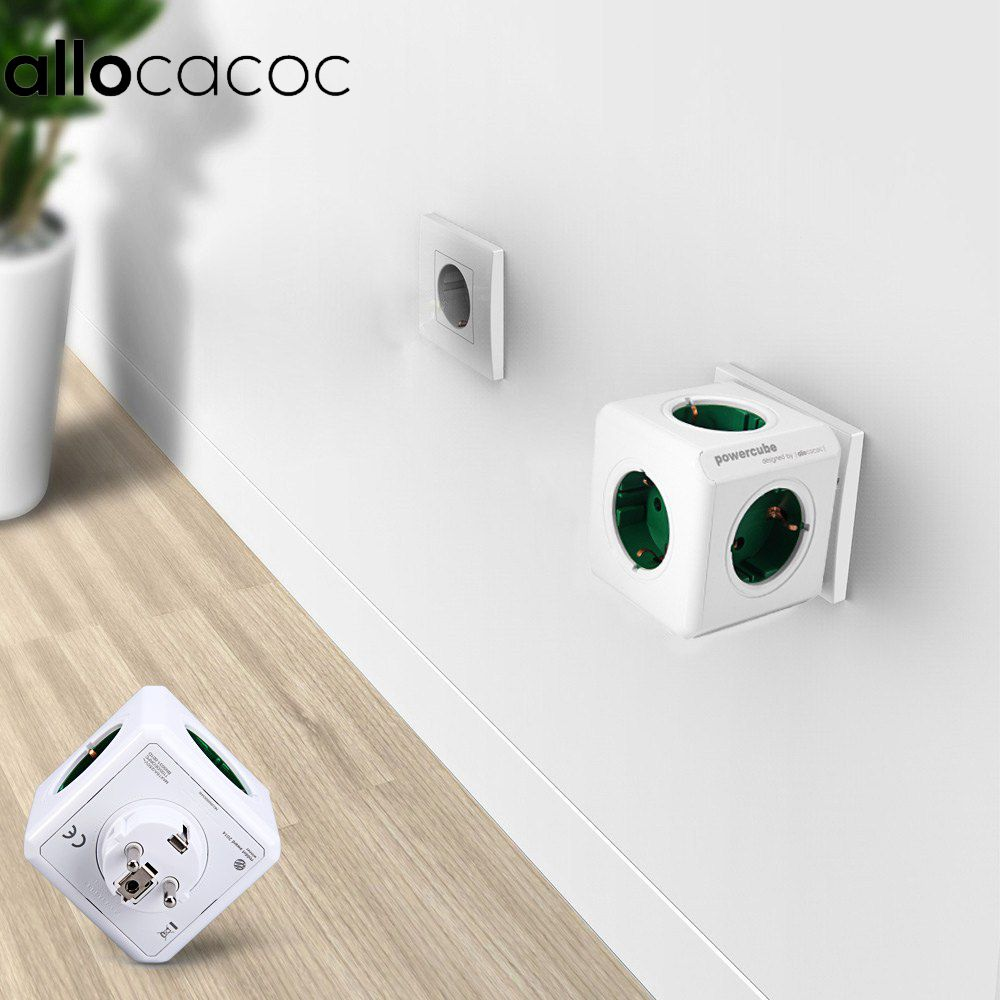 Allocacoc Cube Prise 5 Sorties Adaptateur Power Strip UE Plug Maison Intelligente 250 v 16A 3680 w