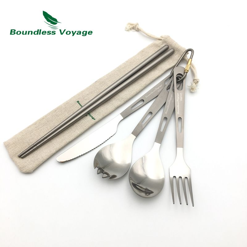 Boundless Voyage Titanium Camping Ultralight Cutlery with Bag Spoon Fork Spork Knife Chopsticks Tableware Ti1519B