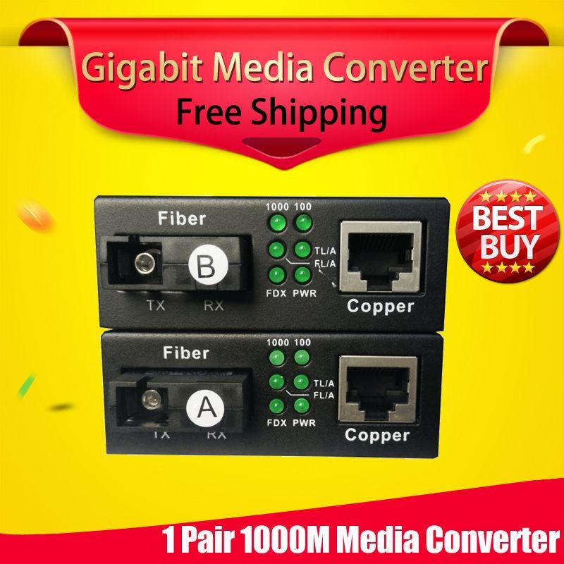 Envío gratis 1 par gigabit de fibra óptica al convertidor de medios de fibra 1310/1550 a ethernet rj45 UTP interruptor conmutador de fibra óptica