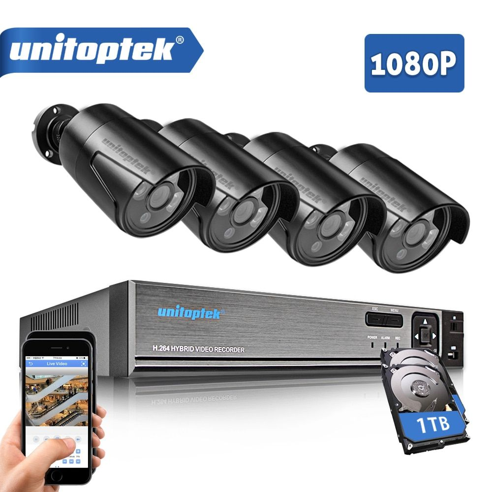 4CH 1080P 5 IN 1 CCTV DVR Recorder With 4Pcs HD 1080P AHD Bullet Cameras Waterproof Outdoor IR Video Security Camera System Kit