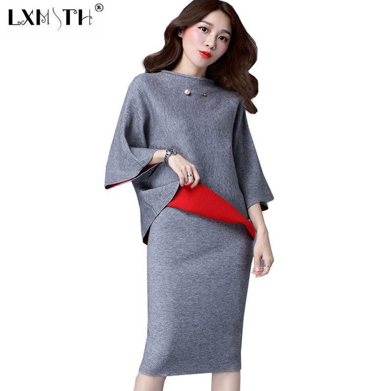 3XL комплект из двух предметов свитер юбка набор Для женщин Элегантный Костюмы юбочные для женщин юбка миди + пуловер вязаный 2 шт. комплект Дл...