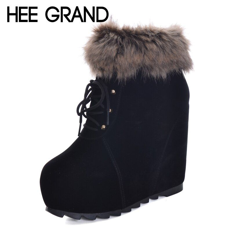 HEE GRAND Height Increasing Women Plush Round Toe Shoes Winter Women  Warm Ankle Boots Ladies Fashion Boots XWX6083