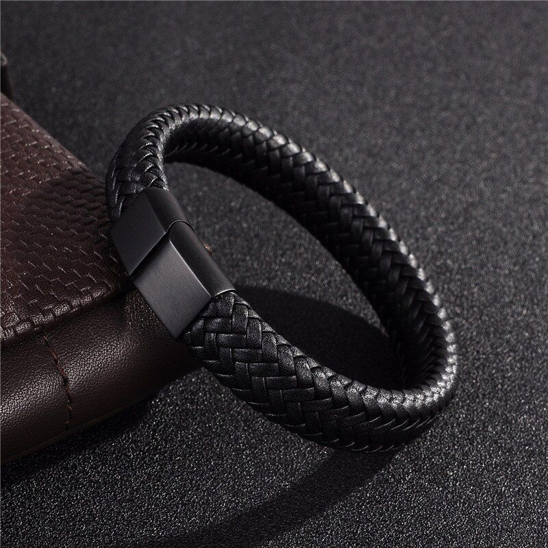 Jiayiqi Punk Hommes Bijoux Noir/Brun En Cuir Tressé Bracelet En Acier Inoxydable Fermoir Magnétique Bracelets De Mode 18.5/22/ 20.5 cm