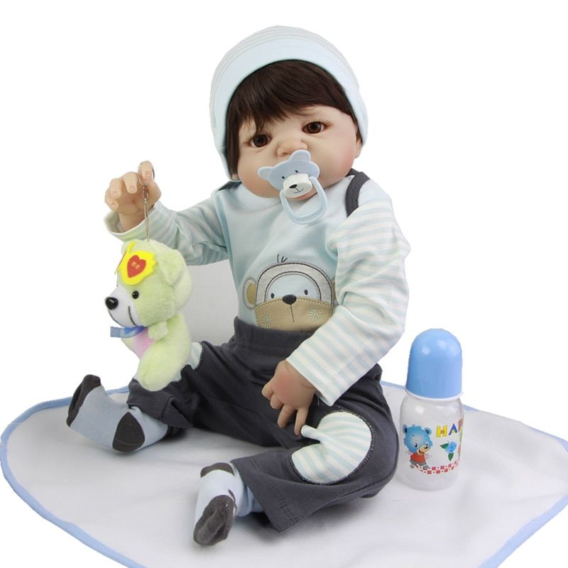23 Inch Realistic Baby Doll Lifelike Full Body Silicone bebe Reborn Minino Waterproof Reborn Dolls For Collection Kid Xmas Gifts