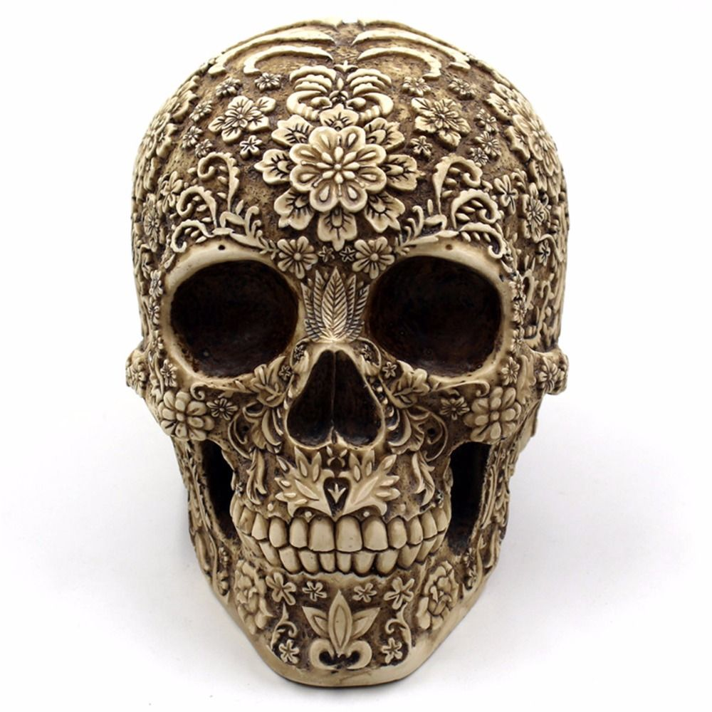 Human Skull Table Decoration Halloween Home Bar Aquarium Delicate Flower Skull Ornaments Resin Decor Event Party Supplies