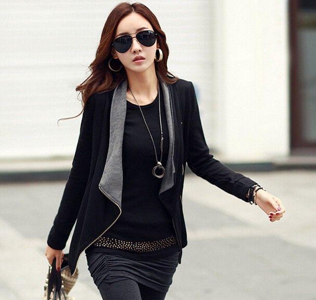 2016 Automne Nouvelles Femmes À Manches Longues décontracté Veste Manteau Style Coréen Mince Hiver fermeture éclair veste zippée