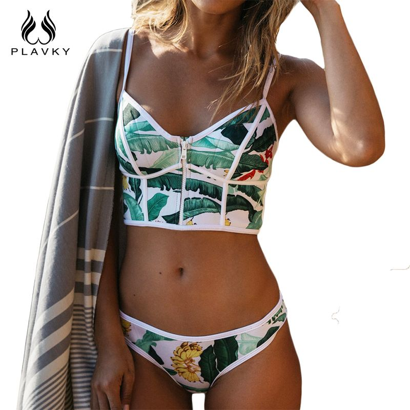 2017 Sexy Floral Biquini Thong Zipper High Neck Swim Bathing Suit Plus Size Swimwear Women Brazilian Bikini Push Up Swimsuit