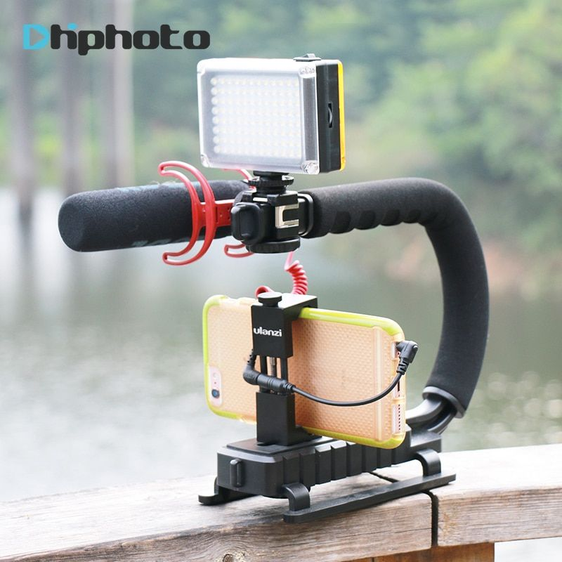 Ulanzi U-Grip Triple Shoe Mount <font><b>Video</b></font> Action Stabilizing Handle Grip Rig for iPhone 8 X Gopro Smartphone Canon Sony DSLR Camera