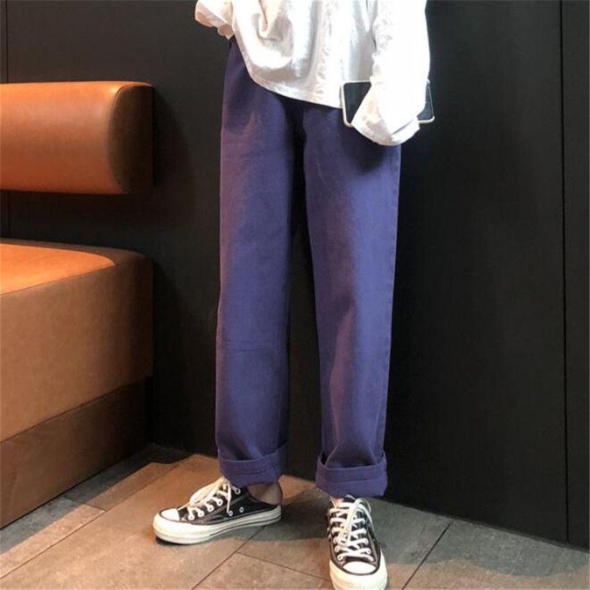 MLCRIYG 2018 automne et hiver version coréenne du nouveau Baitao rétro taille haute tube droit étudiant pantalons décontractés école