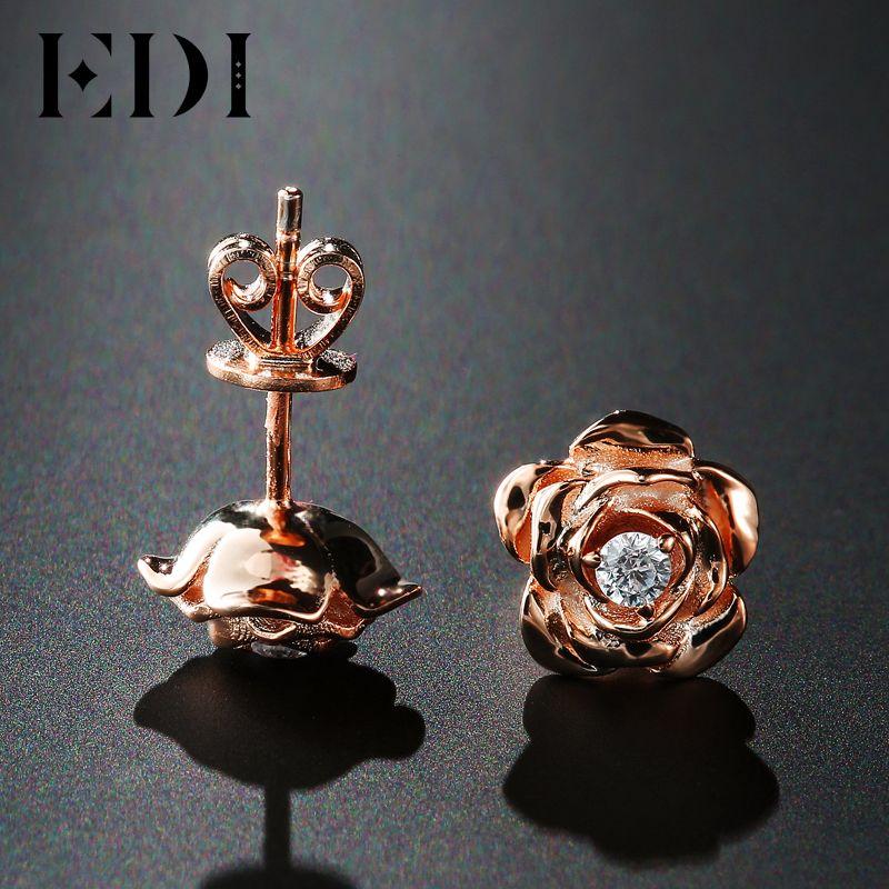EDI Genuine Moissanites Diamond 14k 585 Rose Gold Stud Earrings Rose Floral Female Wedding Fine Jewelry