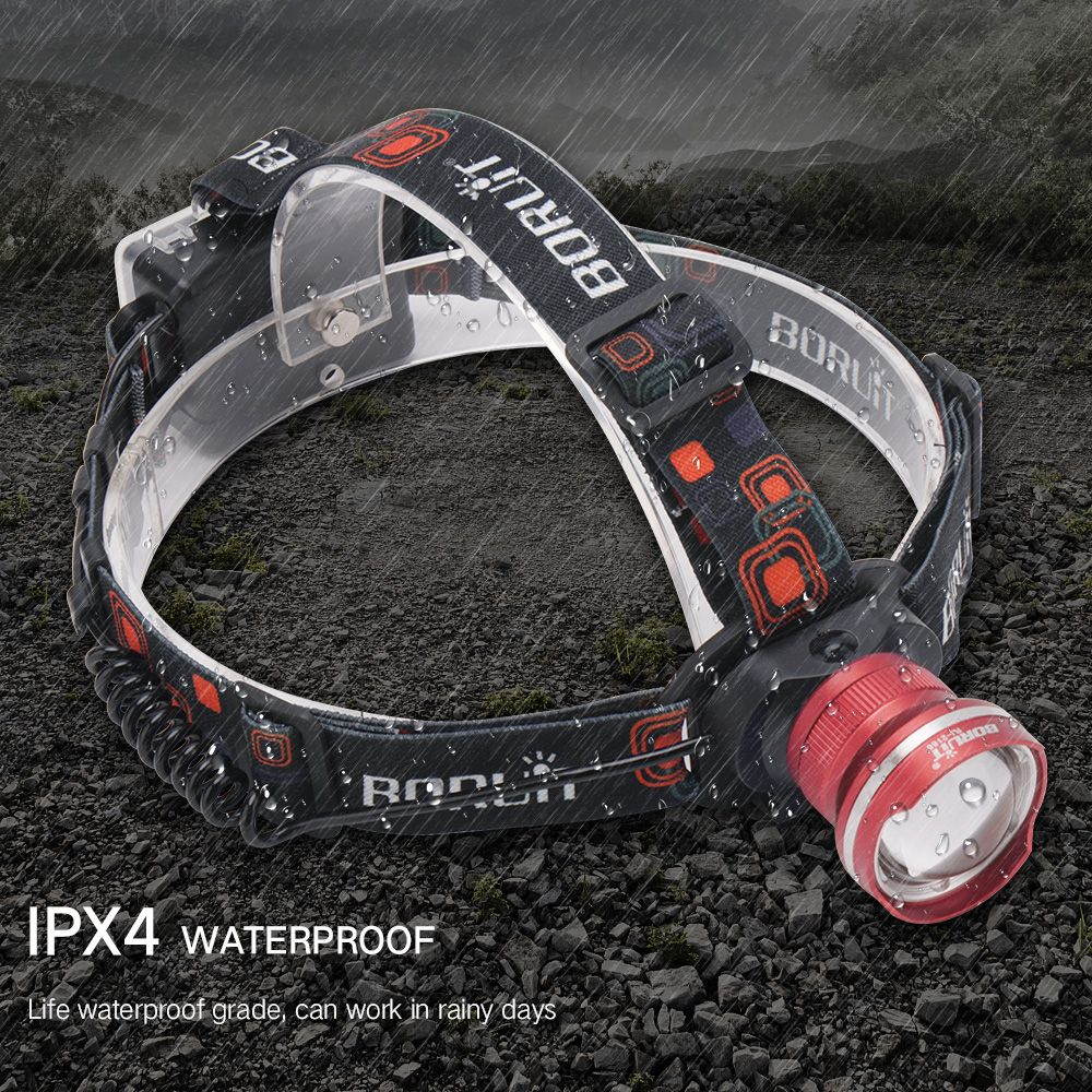 700pcs T6 LED Headlight 3-Mode Zoomable Headlamp Waterproof Head Torch Camping Frontal Lantern Hunting Flashlight
