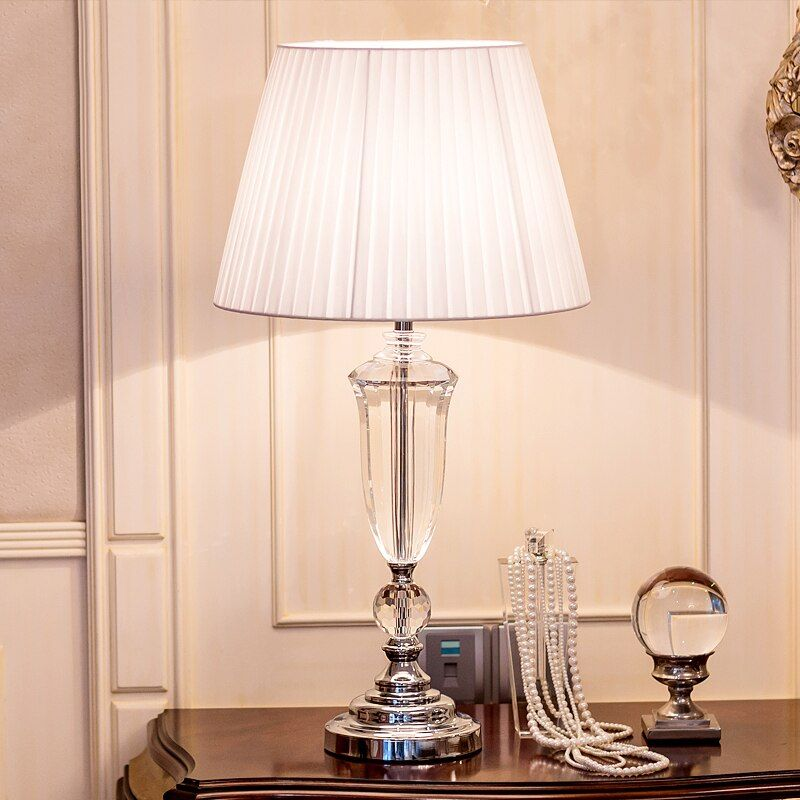 Modern K9 Crystal Bedroom Table Lamp Fabric Lampshade Living Room Decoration Abajur Table lamp All country can use Socket
