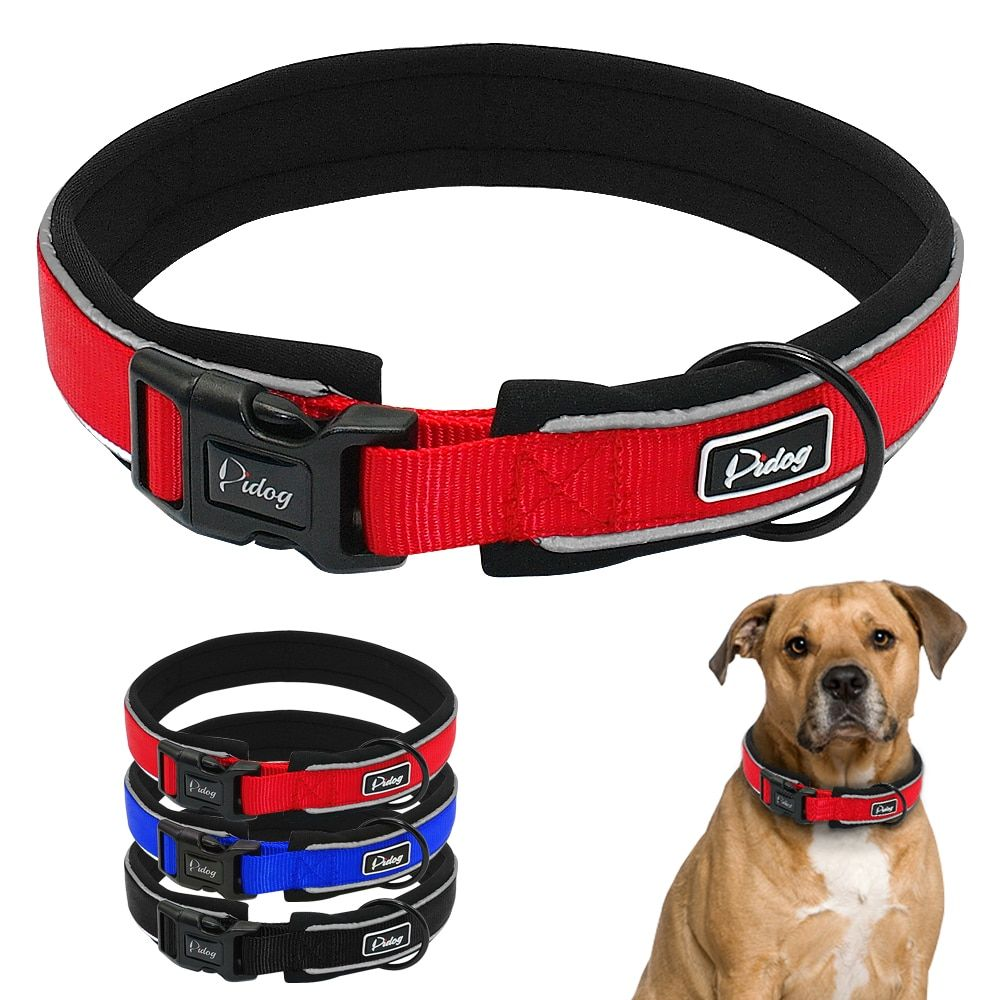 Adjustable Comfort Thick Padded Nylon Dog Collar Reflective For Small Medium Large Breeds Blue Red Black S M L XL