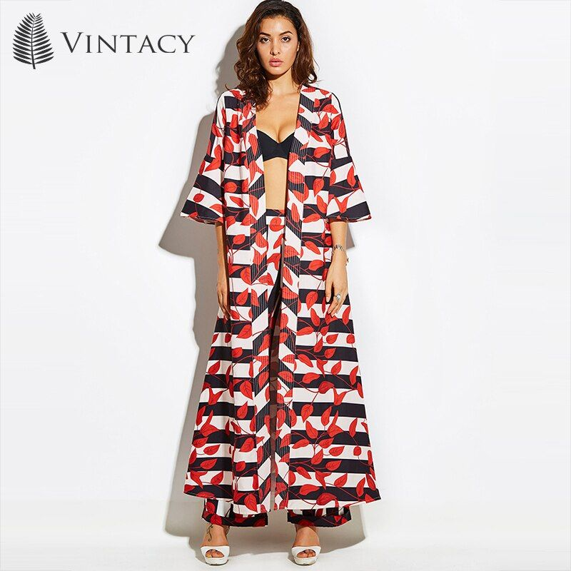Vintacy 2017 Vacation Women Red Summer Trench Coats Floral Trench Coat Trench Women Coats Office Outwear Loose Tops Flare Sleeve