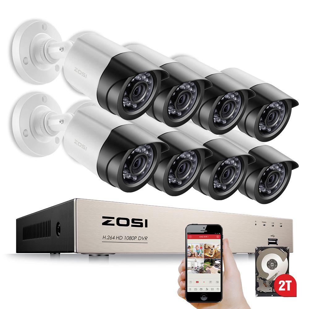 ZOSI HD-TVI 8CH 1080 P 2.0MP Caméras de Sécurité Système 8*1080 P 2000TVL Jour Nuit Vision CCTV de Sécurité À Domicile 2 TB HDD