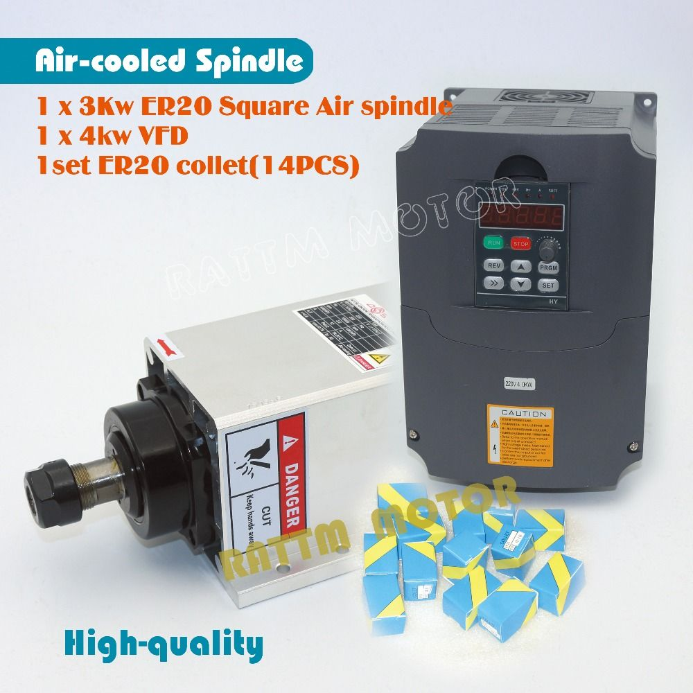 EU Delivery! Quanlity Square 3kw ER20 Air cooled spindle motor runout-off 0.01mm 4 bearing & 4kw VFD & ER20 collet for Engraving