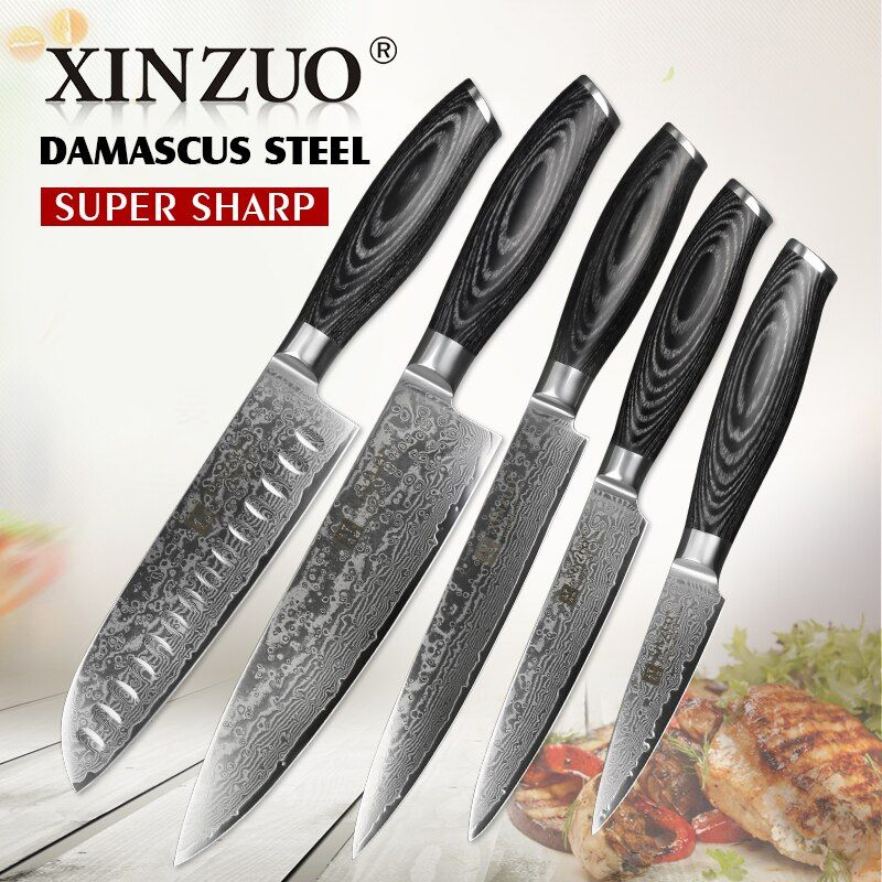 XINZUO 5 PCS Kitchen Knives Set 67 Layers Japanese VG10 Damascus Stainless Steel Top Cleaver Chef Utility Knife Pakkawood Handle