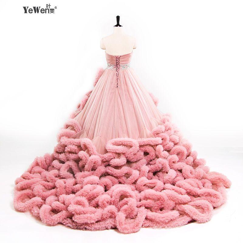 YeWen Luxus Prinzessin Rot Rosa Wolke plus größe Ballkleid Hochzeit Kleider 2018 braut kleid vestidos de noiva robe de mariage