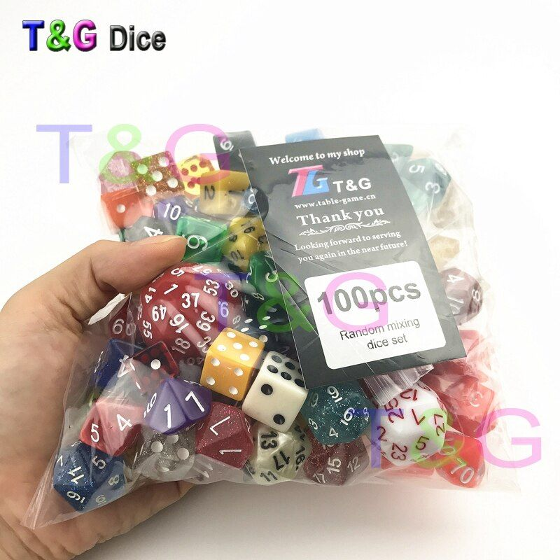 Random 100 Pcs/set Polyhedral Plastic Fun Dices with Creative Color /style Enjoy Leisure Time/Holiday Party Game Entertainment