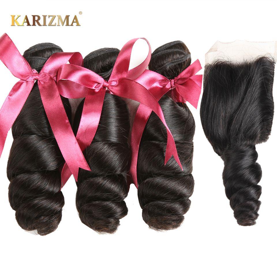 Karizma Brazilian Loose Wave Bundles With Closure 100% Human Hair Brazilian hair Weave 3 Bundles With Closure Free Part Non Remy