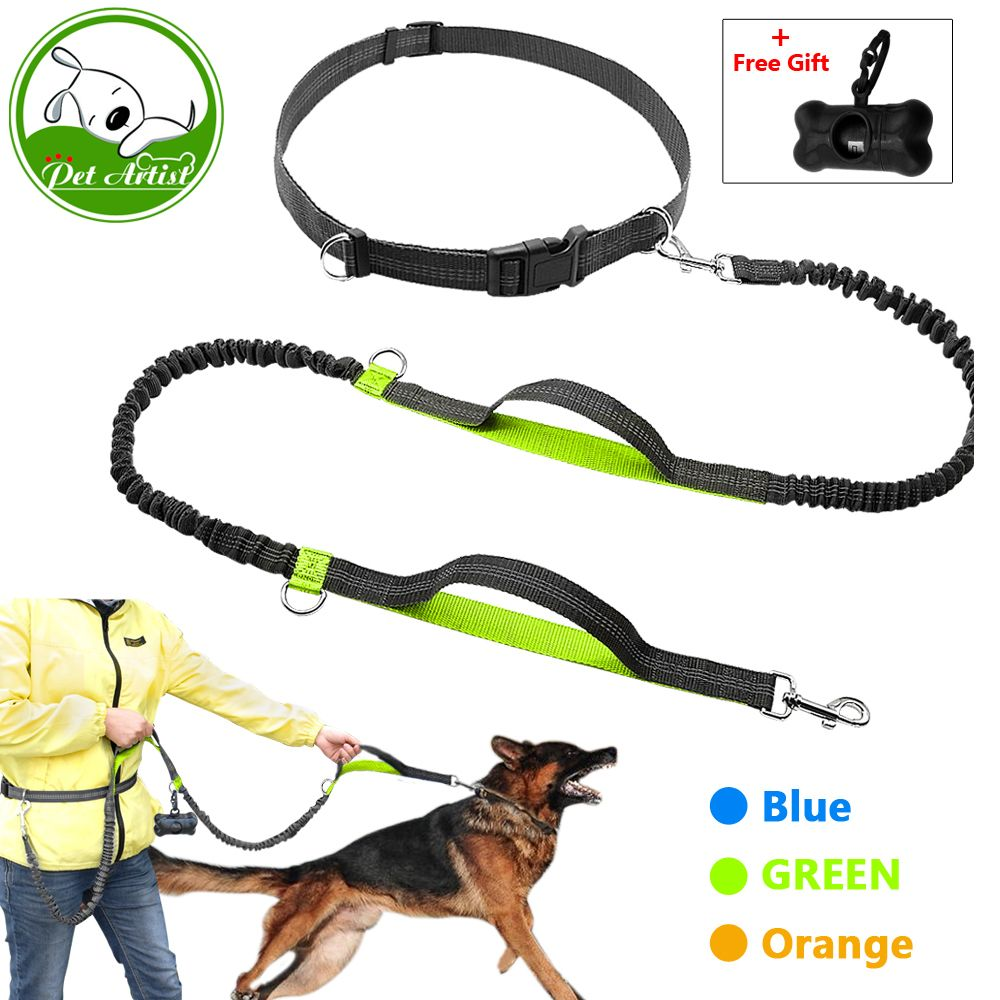 Retractable <font><b>Hands</b></font> Free Dog Leash for Running Dual Handle Bungee Leash Reflective For Up to 150 lbs Large Dogs Free Bag Dispenser