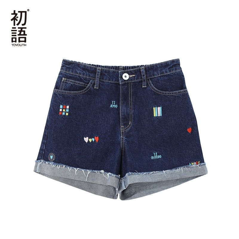 Toyouth Vintage Denim Shorts For Women Summer 2018 High Waist Shorts Jeans Casual Embroidery Printed Mini Hot Short With Pocket