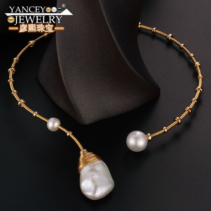 New popular elements Original design Natural Baroque pearl necklace for women and girl Fine jewelry G9k gold, High-end luxury