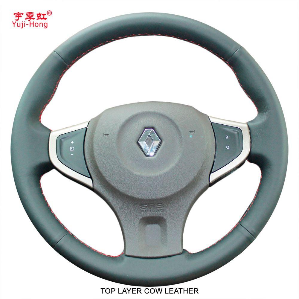 Yuji-Hong Auto Lenkung Abdeckungen für Renault Koleos 2009-2016 Echtem Leder Auto Hand-genäht Top Schicht kuh Leder