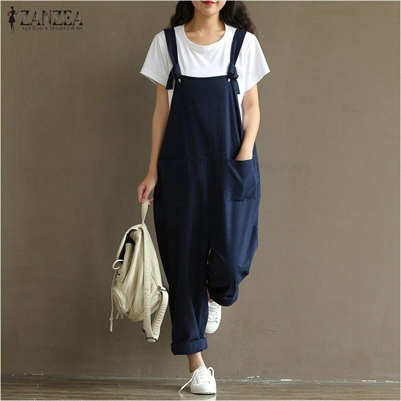 2018 Summer <font><b>Autumn</b></font> ZANZEA Rompers Womens Jumpsuits Vintage Sleeveless Backless Casual Loose Solid Overalls Strapless Paysuits